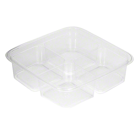 "Fabri-Kal® Greenware® On-The-Go 6"" Square-4 Cmpt Shallow"