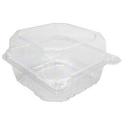"Karat® PET Hinged Container - 6"" x 6"""