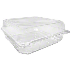 "Karat® PET Hinged Container - 9"" x 9"""