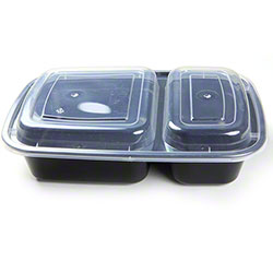 MicroNow® Black Rectangular 2-Comp Combo w/Lid - 32 oz.