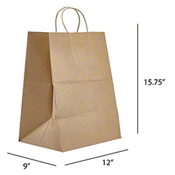 "Kraft Handle Takeout Bag - 12"" x 9"" x 15.75"""
