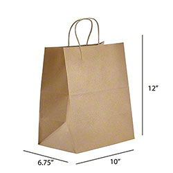 "Kraft Handle Takeout Bag - 10"" x 6.75"" x 12"""