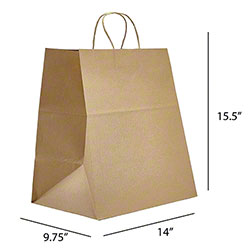 "Kraft Handle Takeout Bag - 14"" x 9.75"" x 15.5"""