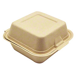 "Harvest Pack BGSH106 Fiber Square Hinged Container - 6"" x 6"""