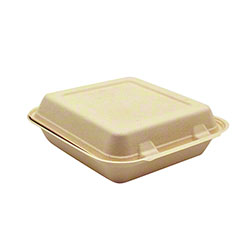 "Harvest Pack BGSH100 Fiber Square Hinged Container - 8"" x 8"""