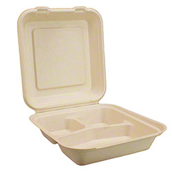 "Harvest Pack BGSH110 Fiber Square Hinged Container - 8"" x 8"", 3-Compartment"