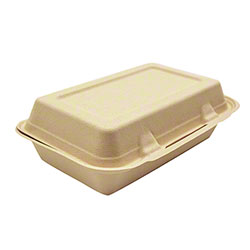 "Harvest Pack BGSH108 Fiber Rectangular Hinged Container - 9"" x 6"""