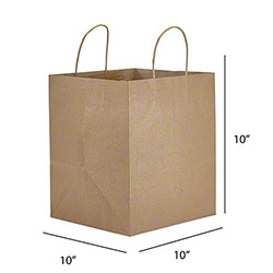 "Kraft Handle Takeout Bag - 10"" x 10"" x 10"""