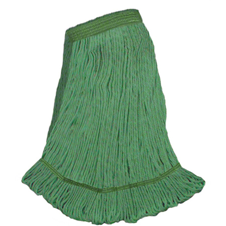 """DMSI Colored Blend Yarn Looped-End Wet Mop -MD, 1 1/4"""",Green"""