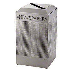 Rubbermaid® Square 29 Gal. Recycling Newspaper Unit-Silver