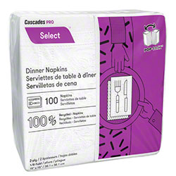 "Cascades PRO Select™ 1/8 Fold Dinner Napkin-15""x15"",White"