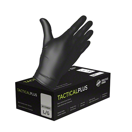 Forcefield Tactical Plus Black Nitrile Examination Glove - Large, Black