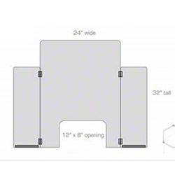 """Safety Shield w/Hinged Side Panels - 24"""" x 32"""""""