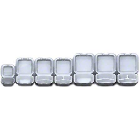 Darnel White Hinged Lid Foam Container - Q-1, 1 Cmpt    Trio Supply