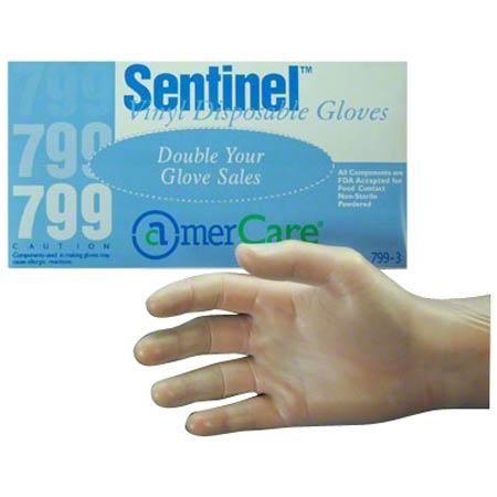 AmerCare® Sentinel™ Vinyl Disposable Glove - Small