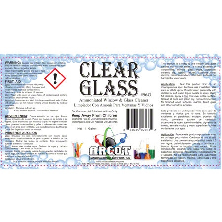 Arcot Crystal Clear Ammoniated Window/Glass Cleaner - Gal  | TK Sales