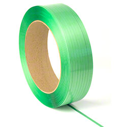 "PAC Strapping Waxed Smooth Polyester Strapping - 5/8"" x 4000' x .035"", Green"