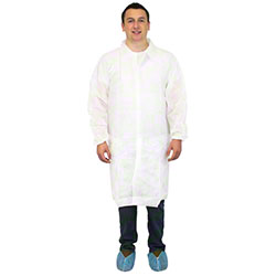Safety Zone Spunbond Polypropylene No Pocket Lab Coats