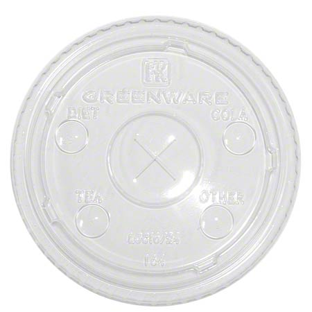 16/24oz Clear Greenware Flat   X-Slot Lid W/Flavor Buttons