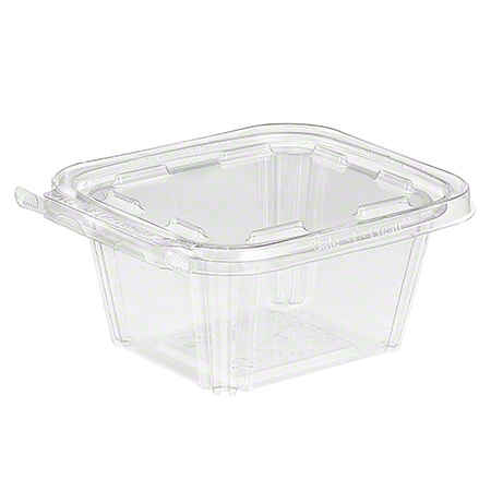 16oz Clear Hinged Tub W/Tear  Strip