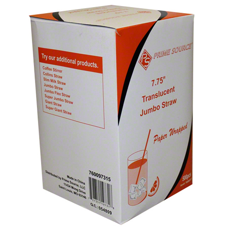 "07.75"" Jumbo Clear Paper Wrapped Straw"