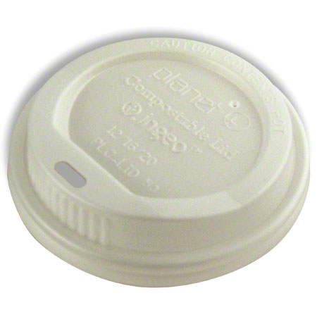 12-20 oz White Compostable  Dome Travel Lid