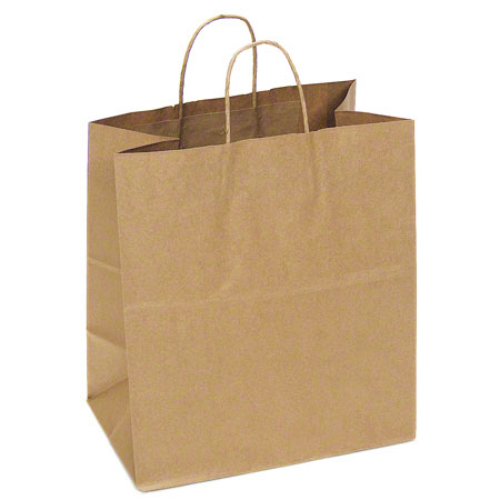 "Kraft 63#  Shopper Bag W/Twist  Handle 15 X 9 X 16"" 200/CS"