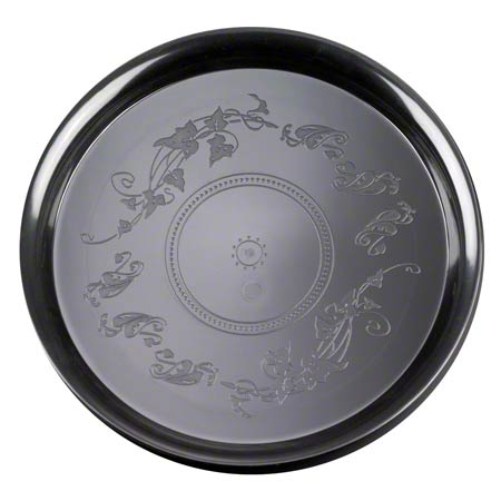 "12"" Round Black Deli Mate Tray 25/CS"