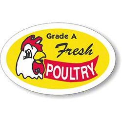 "Grade A Fresh Poultry Label - 1.25"" x 2"""