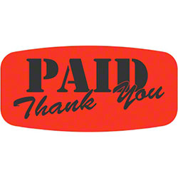 """Paid Thank You Short Oval Label - .625"""" x 1.25"""""""