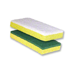 Bright Solutions® Scouring Sponge Fine Pad - Yellow/White