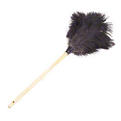 "Lambskin Feather Duster Premium Grey Ostrich - 34"" Overall"
