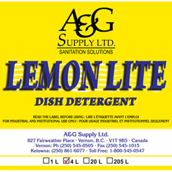 A & G Supply Lemon Lite Dish Detergent - 4 L