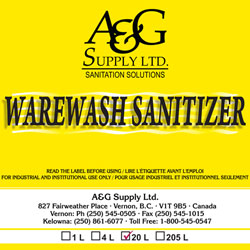 A & G Supply Warewash Sanitizer - 20 L