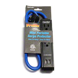 Pro Glo 3 Outlet/2 USB Ports Blue Surge Strip