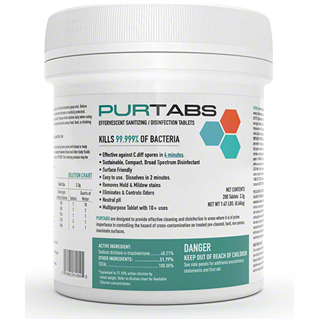 Purtabs 3.3g Effervescent Disinfecting & Sanitizing Tablets