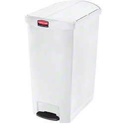 Rubbermaid® Slim Jim® Step-On Resin End - 24 Gal., White