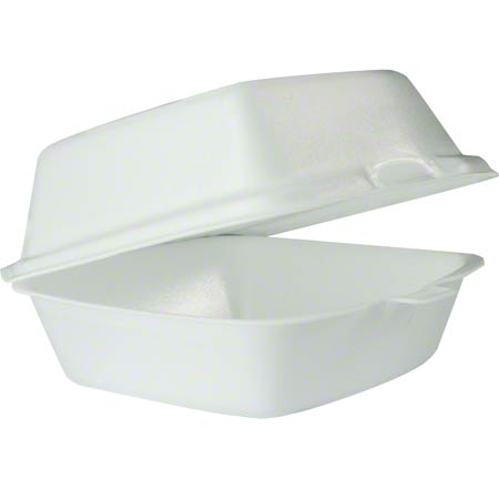 "Dart® Foam Hinged Lid Cont. -6"" Large Sandwich, White"
