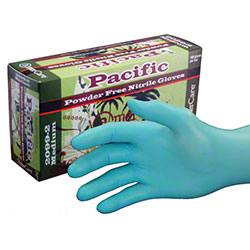 AmerCare® Pacific Powder Free Blue Nitrile Glove - Med.