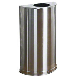 Rubbermaid® Metallic Half Round Waste Container -Stainless