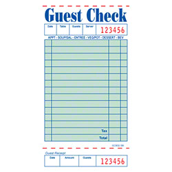 Choice™ Single-Part Board Guest Check