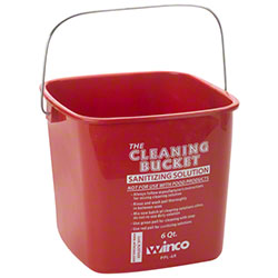 Winco® 6 Qt. Red Cleaning Bucket For Sanitizing Solution