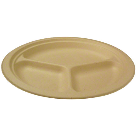 "World Centric Bagasse/Wheatstraw Plate - 10"", 3 Cmpt."