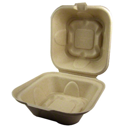 World Centric Fiber Take Out Burger Box - 6 x 6 x 3