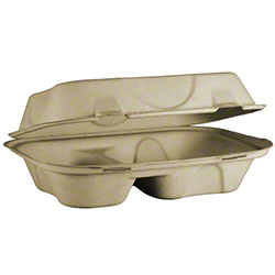 World Centric Fiber Take Out 2 Compartment Clamshell