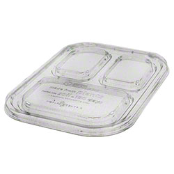 "World Centric Three Compartment Tray Lid - 10"" x 7.5"""