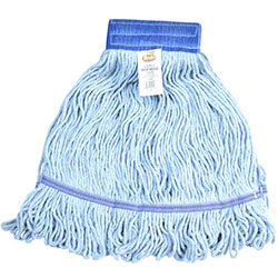 Janico Medium Cotton Looped End Wet Mop, Wide Band, Blue