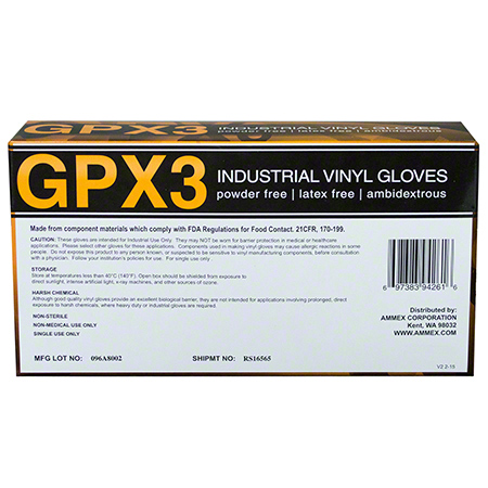 Ammex GPX3 Industrial Vinyl Disposable Glove - Large