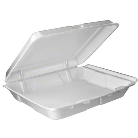 Dart® Foam Hinged Lid Cont. - 3 Cmpt w/Removable Lid,White