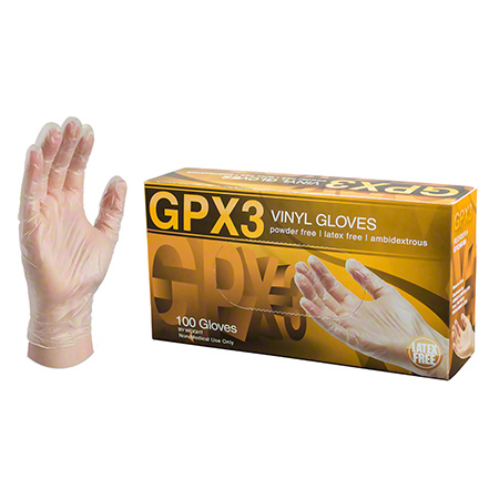 Ammex GPX3 Industrial Clear Vinyl Disposable Glove - Medium